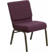Extra Wide Plum Fabric Stacking Church Chair