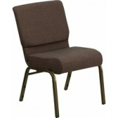 "Extra Wide Brown Fabric Stacking Church Chair with 4"" Thick Seat – Gold Vein Frame"