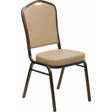 Crown Back Stacking Banquet Chair with Tan Vinyl