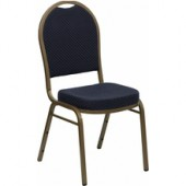 REGAL Series Dome Back Stacking Banquet Chair with Navy Patterned Fabric and Gold Frame Finish